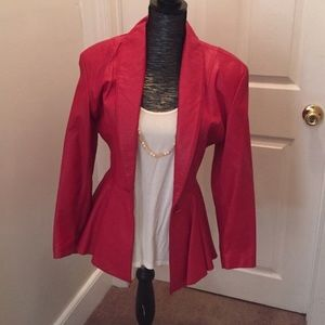 Vintage red leather skirt suit